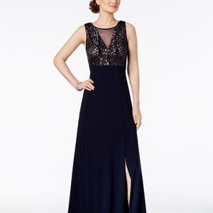 Nightway Sequined A-Line Gown Navy/Nude Size 8